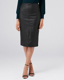 Forever New JODIE PU LONG LINE SKIRT BLACK