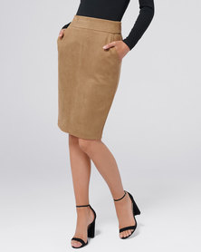 Forever New Tammy Suedette Pencil Skirt Tan