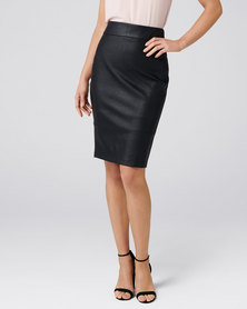 Forever New Alex PU Pencil Skirt Black