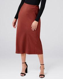 Forever New Bobbie Satin Slip Skirt Rust