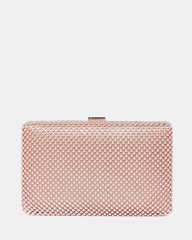 Forever New Liana Beaded Clutch Rose Gold
