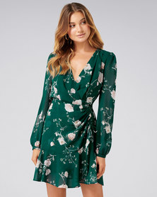 Forever New ELEANOR ROUCHED MINI DRESS EMERALD BLOOM