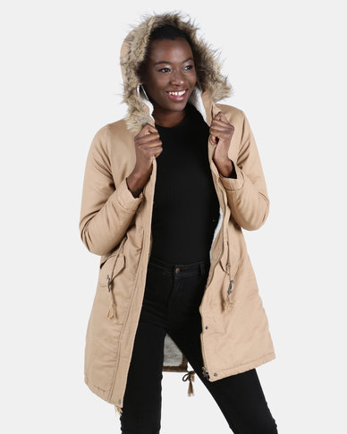 Utopia Cotton Sherpa Lined Parka Brown