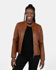 Utopia PU Biker Jacket Brown