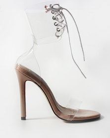 Gosh Footwear Corset Transparent Heeled Sandals Nude