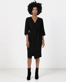 Maya Prass Saffron Mock Wrap Dress Black