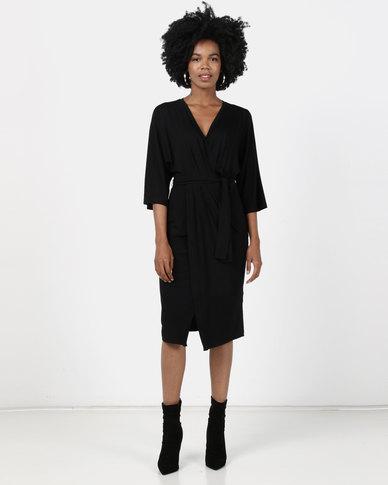 Maya Prass Saffron Mock Wrap Dress Black