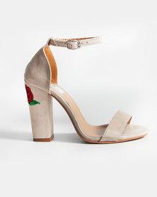 Gosh Footwear Floral Decal Heeled Sandals Nude