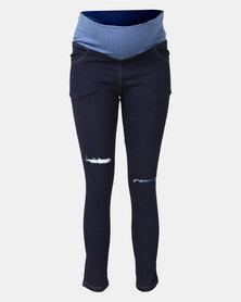Hannah Grace Maternity Dark Denim Ripped Jeans
