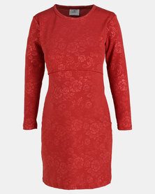 Hannah Grace Rust Rose embossed breastfeeding dress