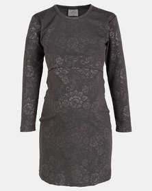 Hannah Grace Grey Rose embossed  breastfeeding dress