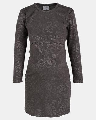 Hannah Grace Grey Rose embossed  breastfeeding dress