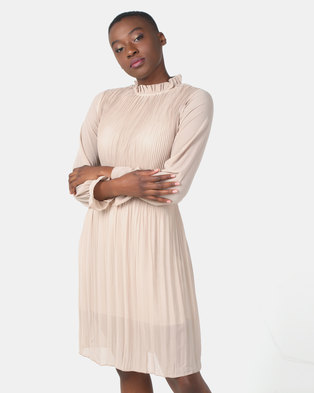 Utopia Pleated Flare Dress With 3/4 Sleeves Beige