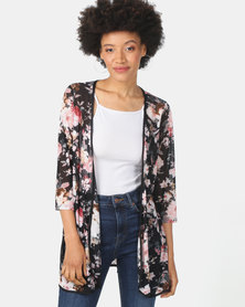 Queenspark Floral Printed Mesh Coverup Knit Jacket Black