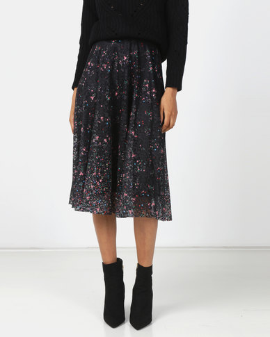 Queenspark Printed Lace Flare Skirt Black