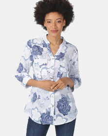 Queenspark 3D Blues Rose Cotton Voile Woven Shirt Blue