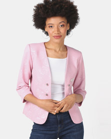 Queenspark Brocade Woven Jacket Pink