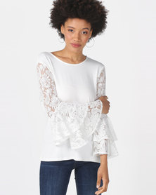 Queenspark Double Frill Lace Sleeve Knit Top White
