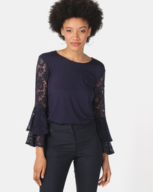 Queenspark Double Frill Lace Sleeve Knit Top Navy