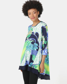 Queenspark High Low Floral Printed Knit Top Green