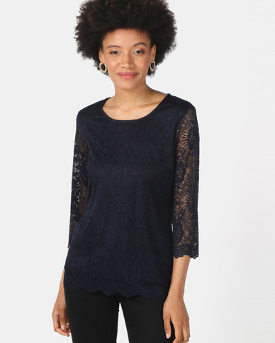 Queenspark Stretch Lace Core Knit Top Navy