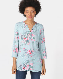 Queenspark Floral Design Woven 3/4 Sleeve Shirt Sage