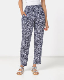 Queenspark Rayon Printed Woven Trousers Navy
