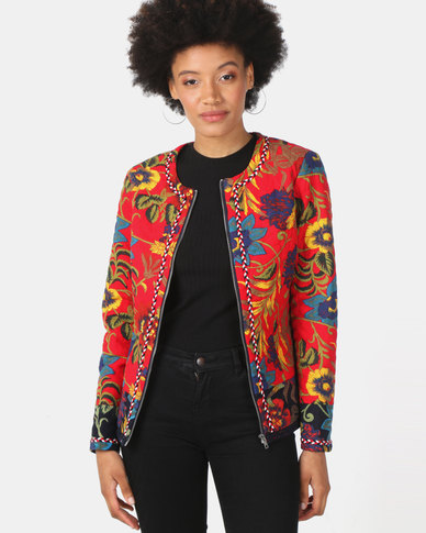 Queenspark Floral Quilted Zip Through Jacket Red