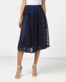 Queenspark Ra Ra Cut-Out Glam Knit Skirt Navy