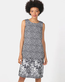 Queenspark Zig Zag Floral Brocade Woven Dress Navy