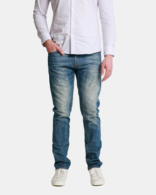 Emme Jeans Slimfit Medium Wash Ripped Jeans Blue