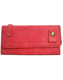 Fino Pu Suede Leather Purse - Pink