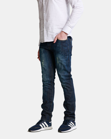Emme Jeans Slimfit Dark Wash Ripped Jeans Blue