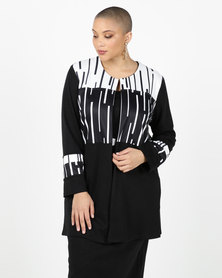 Queenspark Plus Collection Black/White Edge To Edge Knit Jacket