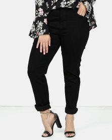 Queenspark Plus Collection Black Beaded Pocket Denim Jean