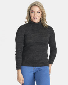 Contempo Long Sleeve Knitted Poloneck Black