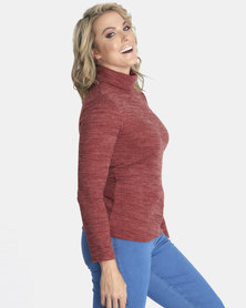 Contempo Long Sleeve Knitted Poloneck Rust