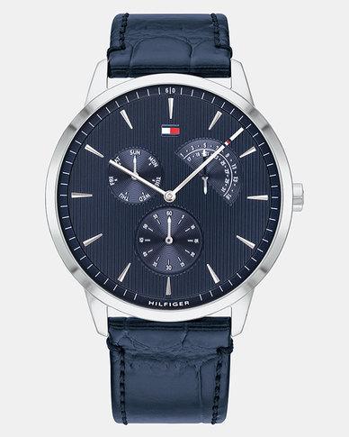 Tommy Hilfiger Faux Croc Watch Blue