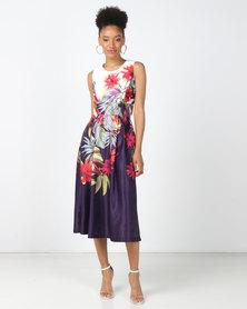 Black Buttons Purple Multi Isabella Floral Dress