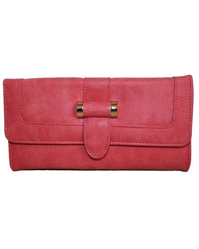 Fino Pu  Leather Suede Purse-Pink
