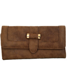 Fino Pu  Leather  Purse-Brown