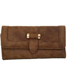 Fino Pu  Leather  Purse-Brown