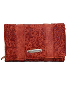 Fino Pu Leather Paisley Printed  Purse-Red
