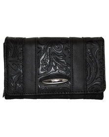 Fino Pu Leather Paisley Printed  Purse-Black