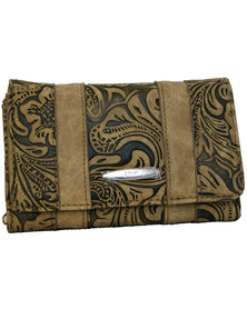 Fino Pu Leather Paisley Printed  Purse-Brown