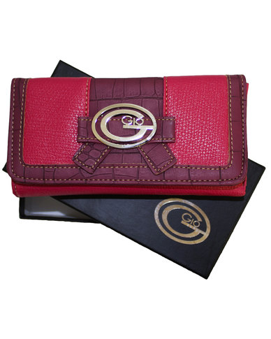 Gio Pu Leather Ladies Purse in gift box-Fuchsia