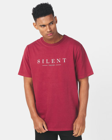 Silent Theory Spell Out Tee Burgundy