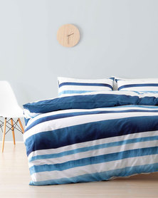 Linen House Double Ibiza Duvet Cover Set Blue