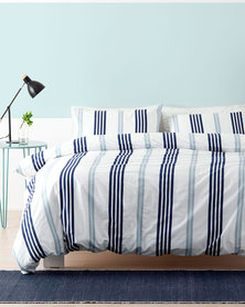 Linen House Queen Brighton Duvet Cover Set Blue