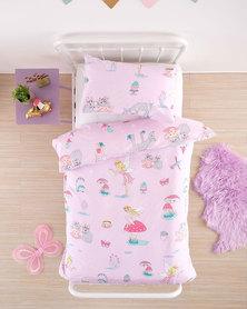Linen House Three Quarter Fairy Tea Party Duvet Cover Set Pink